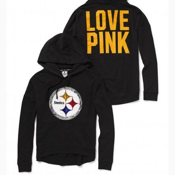 VS PINK sequins Steelers hoodie. M 5bf745649519965291b3d8fc 51953e093